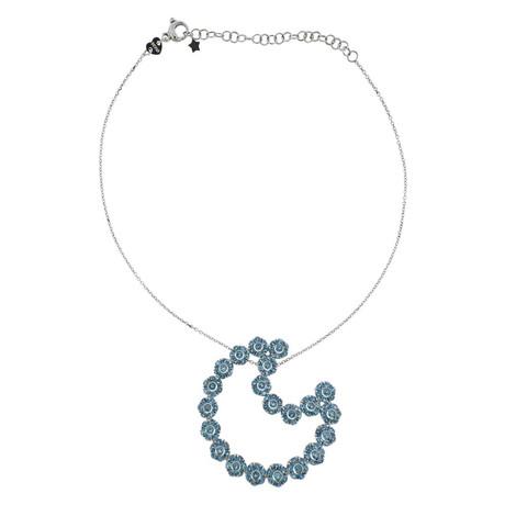 Pasquale Bruni 18k White Gold Blue Topaz Pendant Necklace