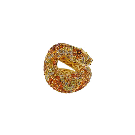 Pasquale Bruni 18k Yellow Gold Fancy Multi-Stone Serpent Ring // Ring Size: 7