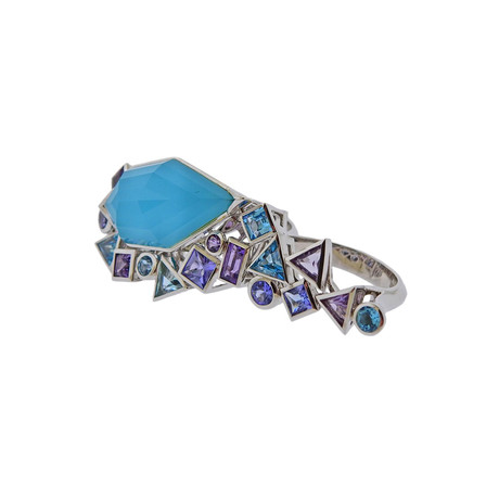 Stephen Webster 18k White Gold Struck Turquoise + Tanzanite Two Finger Ring // Ring Size: 6