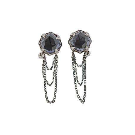Stephen Webster 18k White Gold Multi-Stone Chain Earrings
