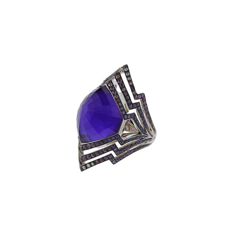 Stephen Webster 18k White Gold Lady Stardust Sapphire + Amethyst Ring // Ring Size: 6