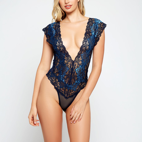Lace + Mesh Panel Teddy // Blue (S)