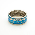 Powder Coated Morgan Silver Dollar Coin Ring // Blue (Size 8)