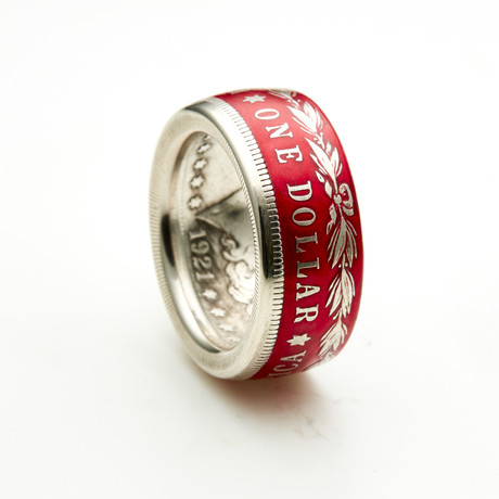 Powder Coated Morgan Silver Dollar Coin Ring // Red (Size 8)