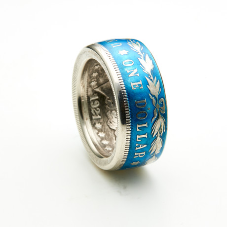 Powder Coated Morgan Silver Dollar Coin Ring // Blue (Size 8)