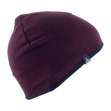 Essence Striped Beanie (Black + White + Black + Red)