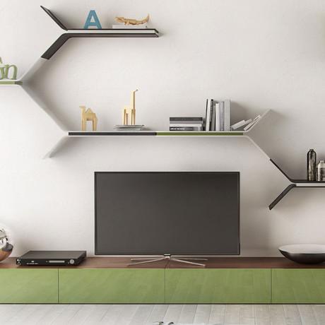 Tarvo Wall Shelf // Set of 2 (White Lacquer + Green Lacquer)