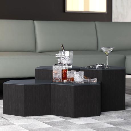 "Centre Occasional Table // Asphalt Glass (14"")"