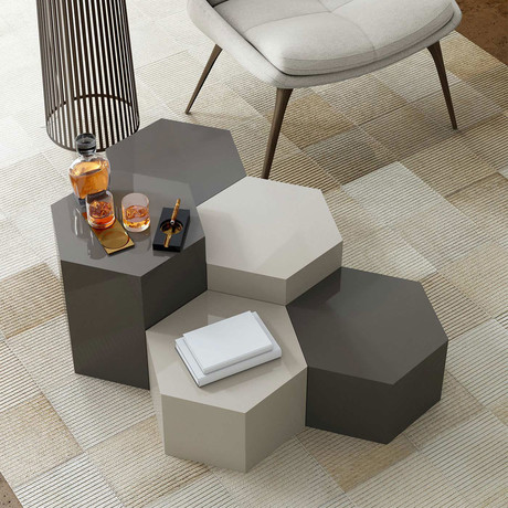 """Centre Occasional Table // Glossy Dark Gull Gray // 18"""""""