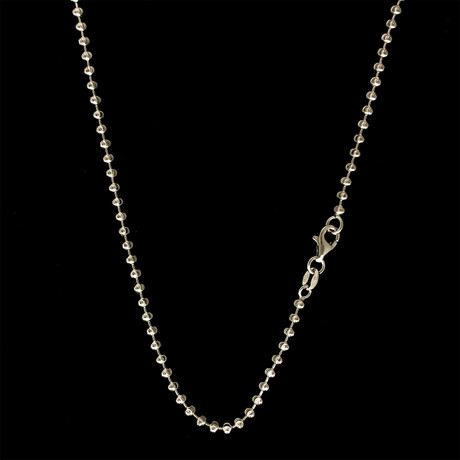 "Solid Sterling Silver Moon Cut Bead Chain Necklace // 2.5mm (16"")"