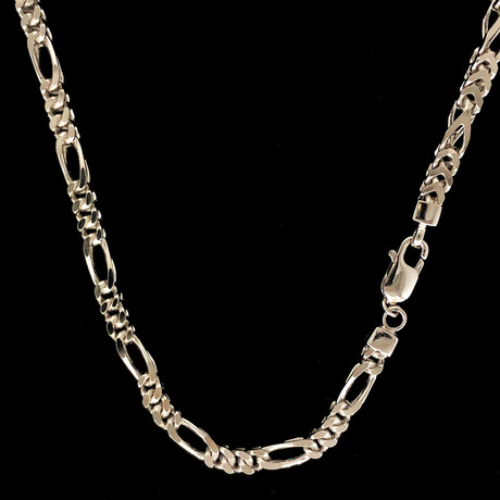 "Solid Sterling Silver 5mm Figaro Franco Chain Necklace (24"")"
