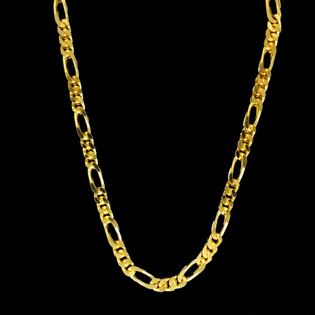 Gold Plated Solid Sterling Silver Figaro Franco Chain Necklace // 5mm