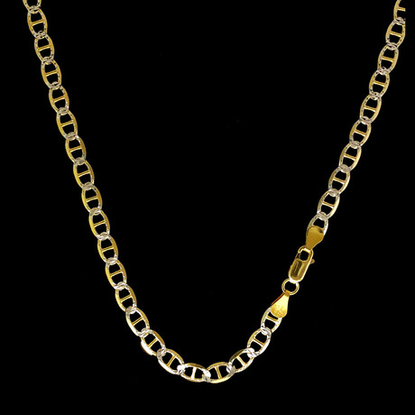 "Solid Two Tone Sterling Silver Mariner Chain Necklace // 5.5mm (22"")"