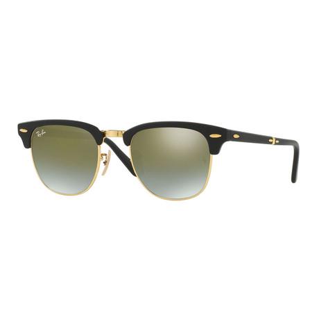 Men's Folding Clubmaster Sunglasses // Black + Green Gradient Flash