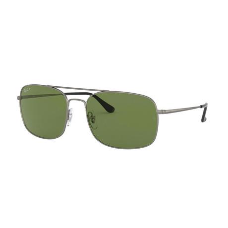 Men's Square Steel Polarized Sunglasses // Gold + Green