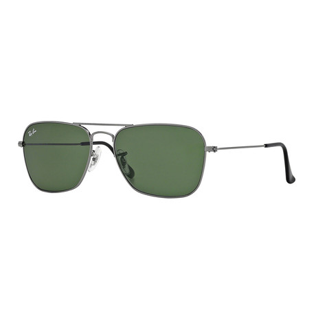 Men's Caravan Metal Sunglasses // Gunmetal + Crystal Green
