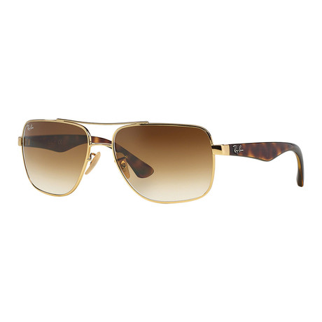 Ray-Ban // Men's Square Double Bridge Metal Sunglasses // Gold Tortoise + Brown Gradient