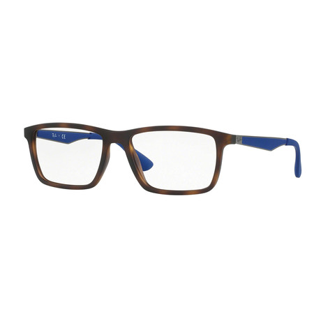 Men's 0RX7056 Rectangle Optical Frames // Tortoise + Blue