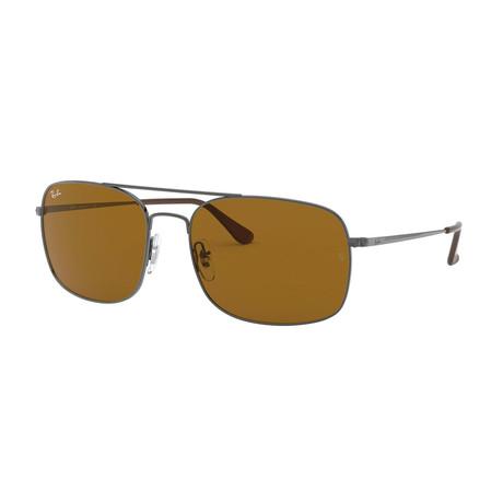 Men's Steel Square Metal Sunglasses // Gunmetal + Brown