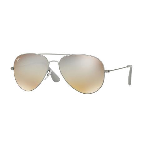 Men's Aviator Metal Sunglasses // Gunmetal + Gray Gradient Mirror