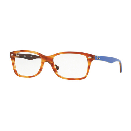 Men's 0RX5228 Rectangle Optical Frames V2 // Light Brown Havana + Blue