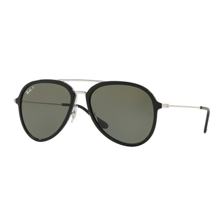 Men's Aviator Nylon Sunglasses // Black + Silver + Gray Gradient