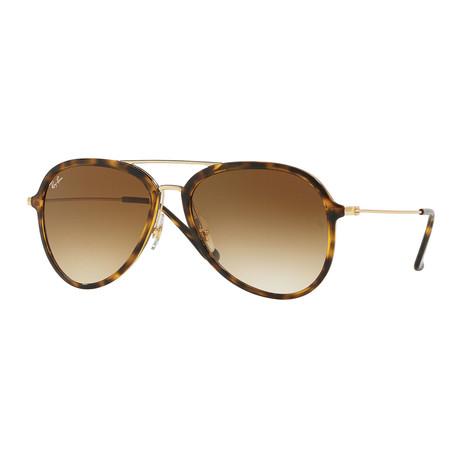 Men's Aviator Nylon Sunglasses // Tortoise Gold + Light Brown Gradient