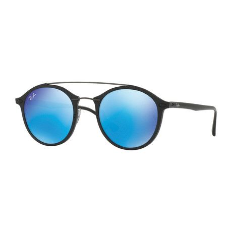 Men's Round Nylon Sunglasses // Black + Blue Mirror