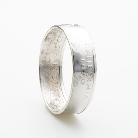 Silver State Quarter Coin Ring // California // Polished Silver (Size 7)