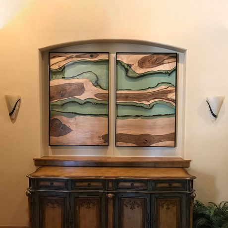 River Series XL Matched Panels with Dual River // English Walnut + Green Glass