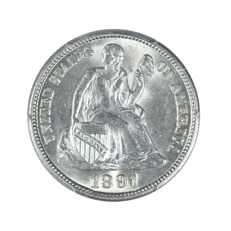 1891-S Seated Liberty Dime PCGS Certified MS64
