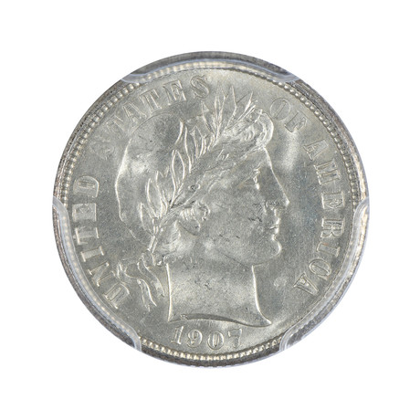1907 Barber Dime PCGS Certified MS64
