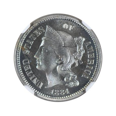 1884 Three Cent Nickel NGC Certified PF66