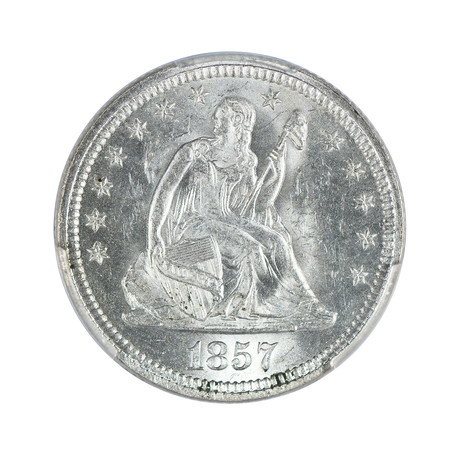 1857 Seated Liberty Quarter PCGS Certified MS63