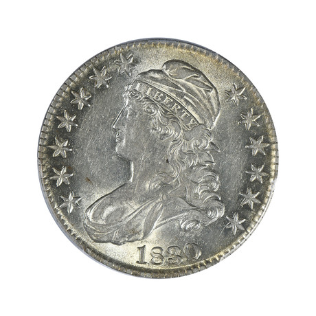 1830 Capped Bust Half Dollar, Small 0, PCGS Certified AU53