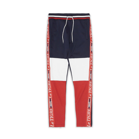 New Tri Color Track Pant // Navy + White + Red (S)