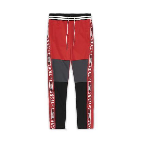 New Tri Color Track Pant // Red (S)