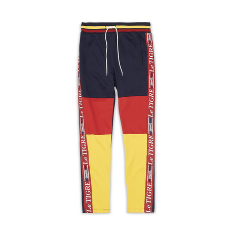 New Tri Color Track Pant // Red + Blue + Yellow (S)