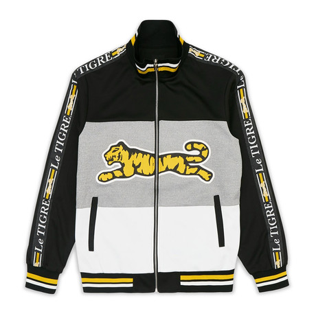 New Tri Color Track Jacket // Black + Gray + White + Yellow (S)