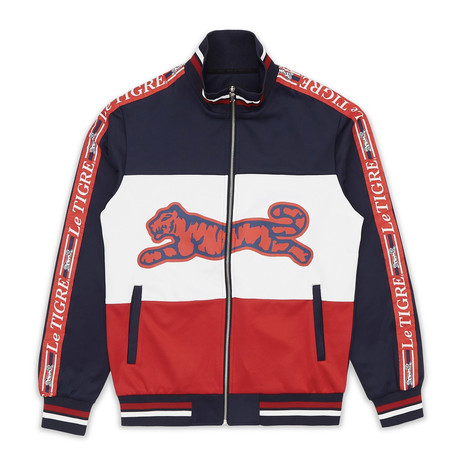 New Tri Color Track Jacket // Navy + White + Red (S)