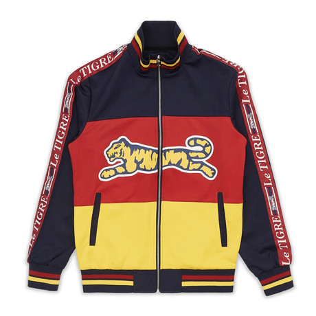 New Tri Color Track Jacket // Red + Blue + Yellow (S)