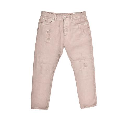 Distressed 5 Pocket Denim Jeans // Beige (30WX32L)
