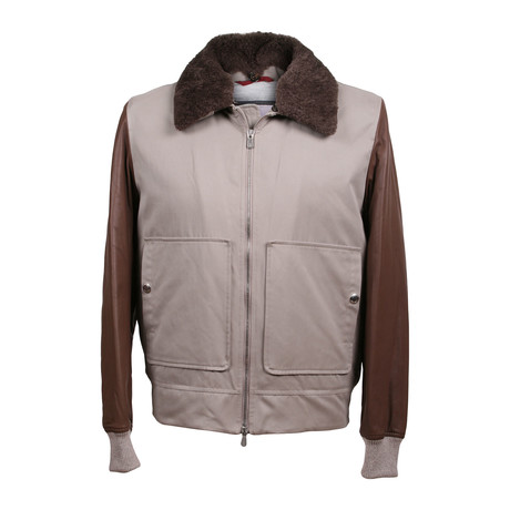 Two Tone Leather Bomber Jacket // Taupe + Brown (XS)
