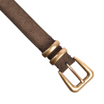 "Suede Leather Belt // Brown (33"" Length)"