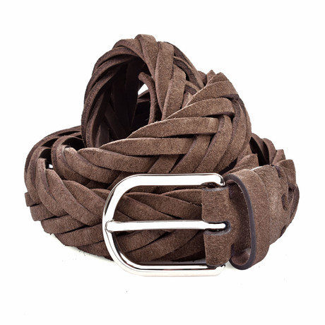 "Suede Knitted Belt // Dark Brown (35"" Length)"