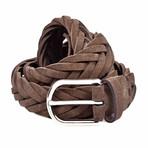 "Suede Knitted Belt // Dark Brown (35"" Length)"