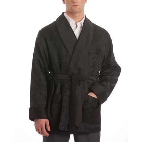 Satin Smoking Jacket // Gray + Black (S)
