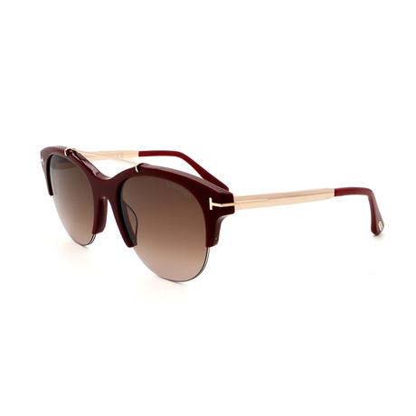 Women's FT05175569T Sunglasses // Shiny Bordeaux + Brown Smoke