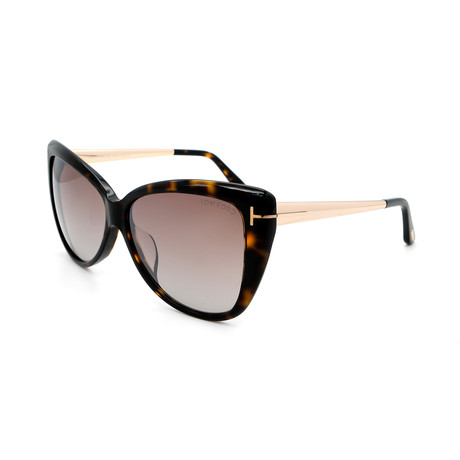 Women's Cat Eye FT05125952G Sunglasses // Dark Havana + Gold