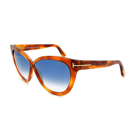 Tom Ford // Women's FT05115953W Sunglasses // Blonde Havana + Blue Gradient